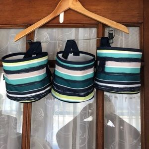 Get 3 Striped Thirty-One Mini Bucket Bags NWOT